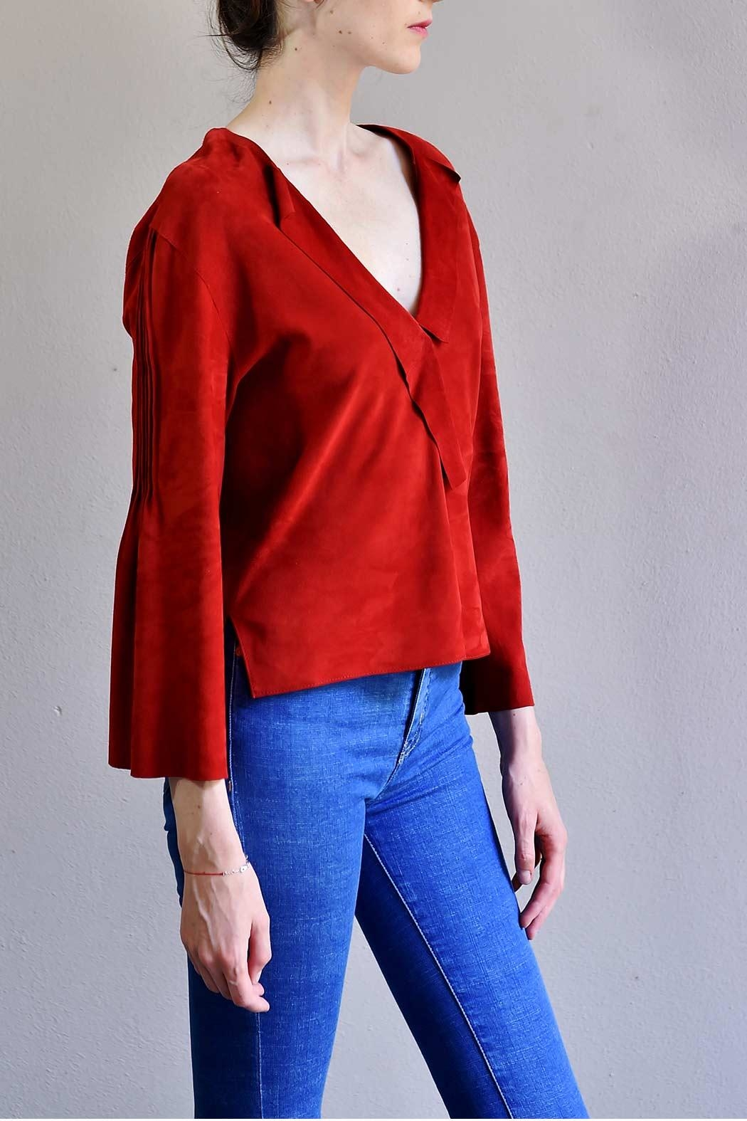 BLESSED Ruby Red Suede Blouse - Side Cropped Image