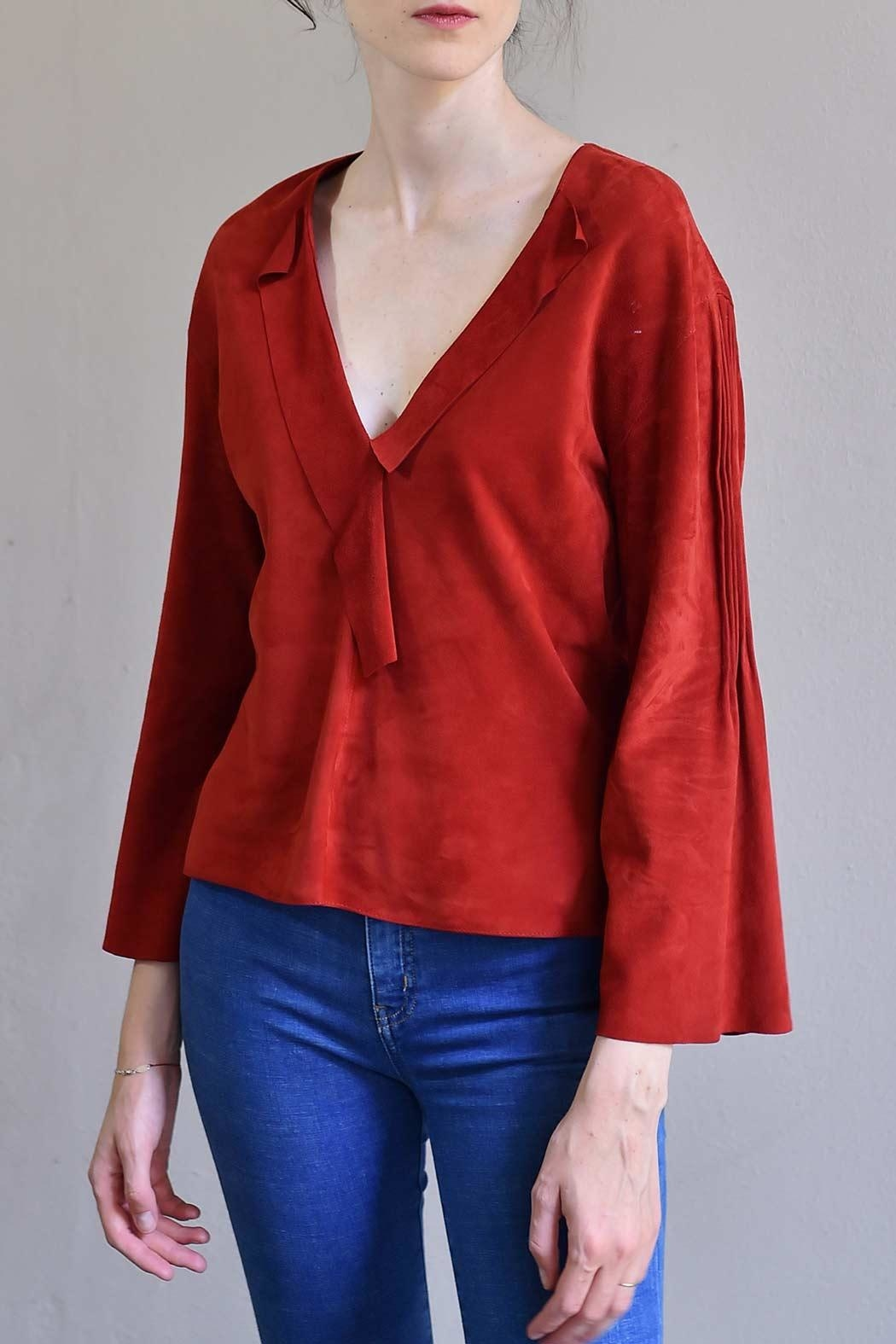 BLESSED Ruby Red Suede Blouse - Main Image