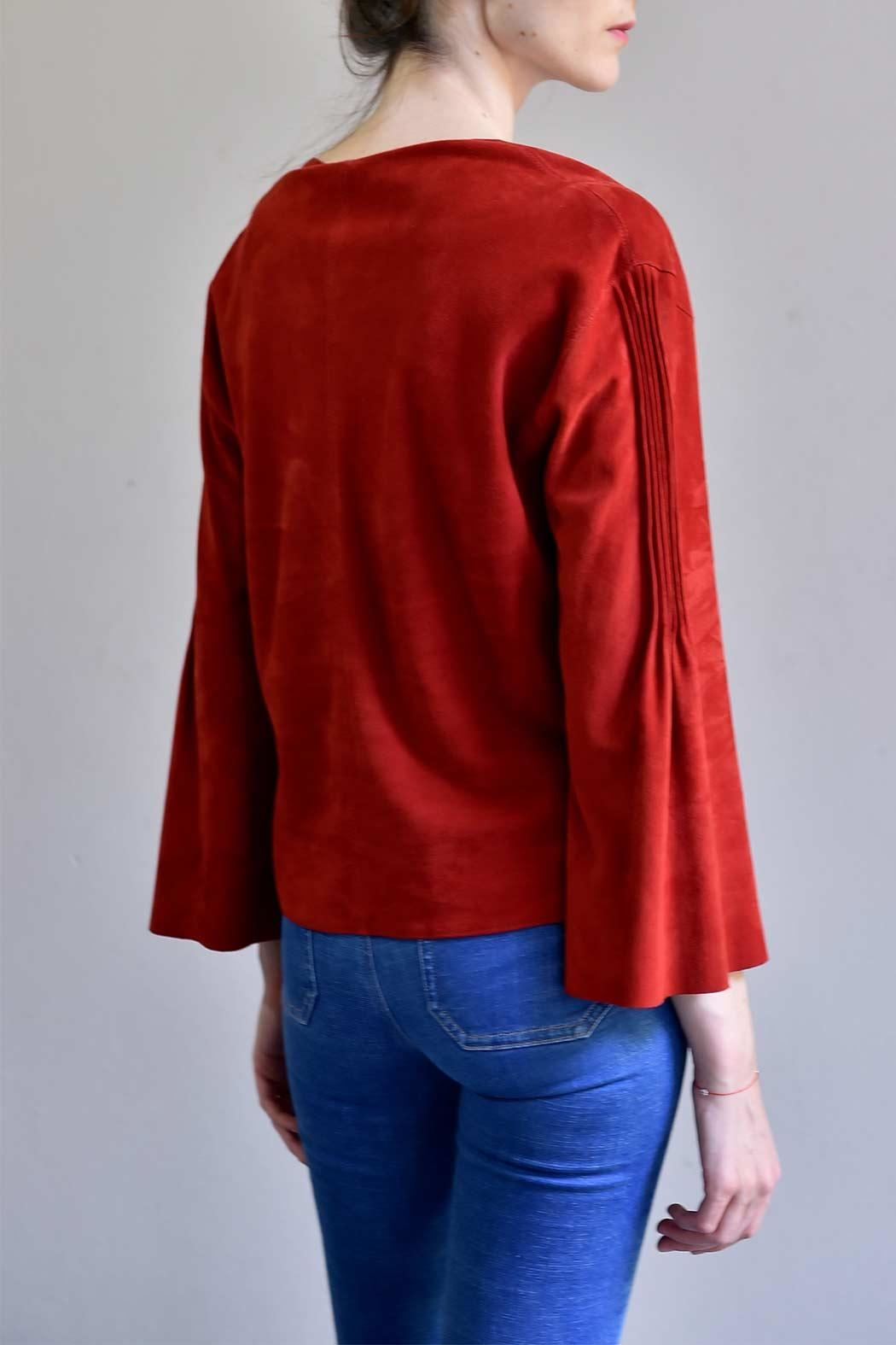 BLESSED Ruby Red Suede Blouse - Back Cropped Image