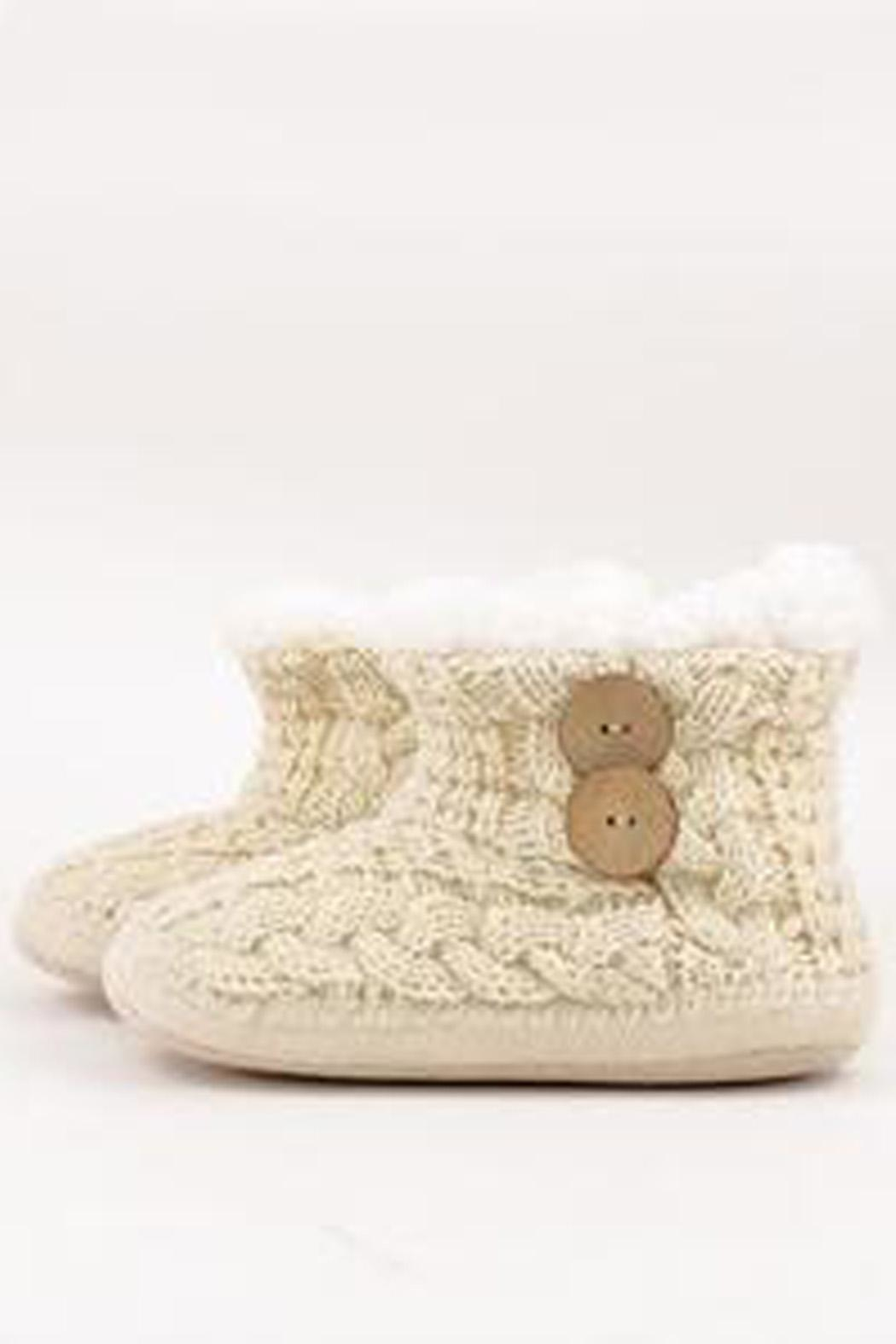 BLISSDANVILLE Cable Knit Slippers - Front Cropped Image