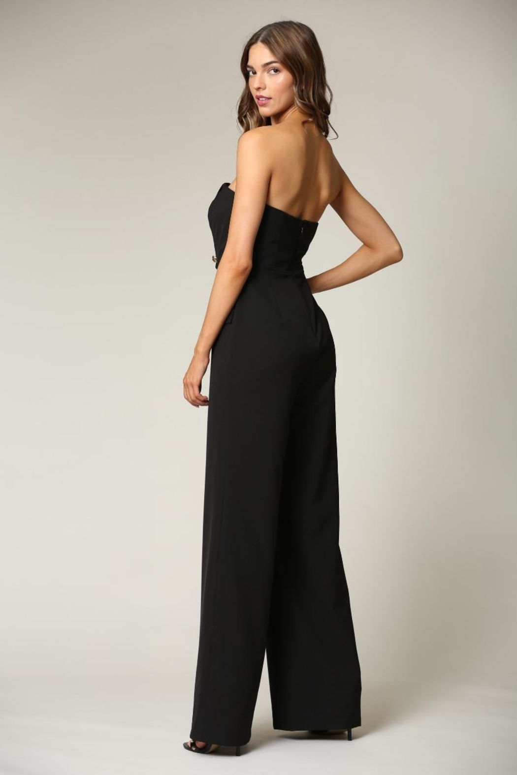 Blithe  Black Strapless Jumpsuit - Side Cropped Image