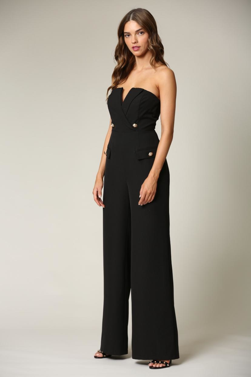 Blithe  Black Strapless Jumpsuit - Front Full Image