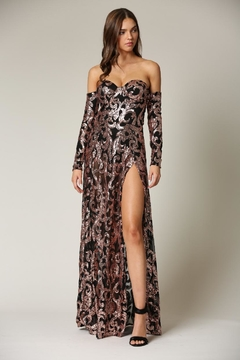 Blithe  Cold-Shoulder Sequin Maxi - Product List Image