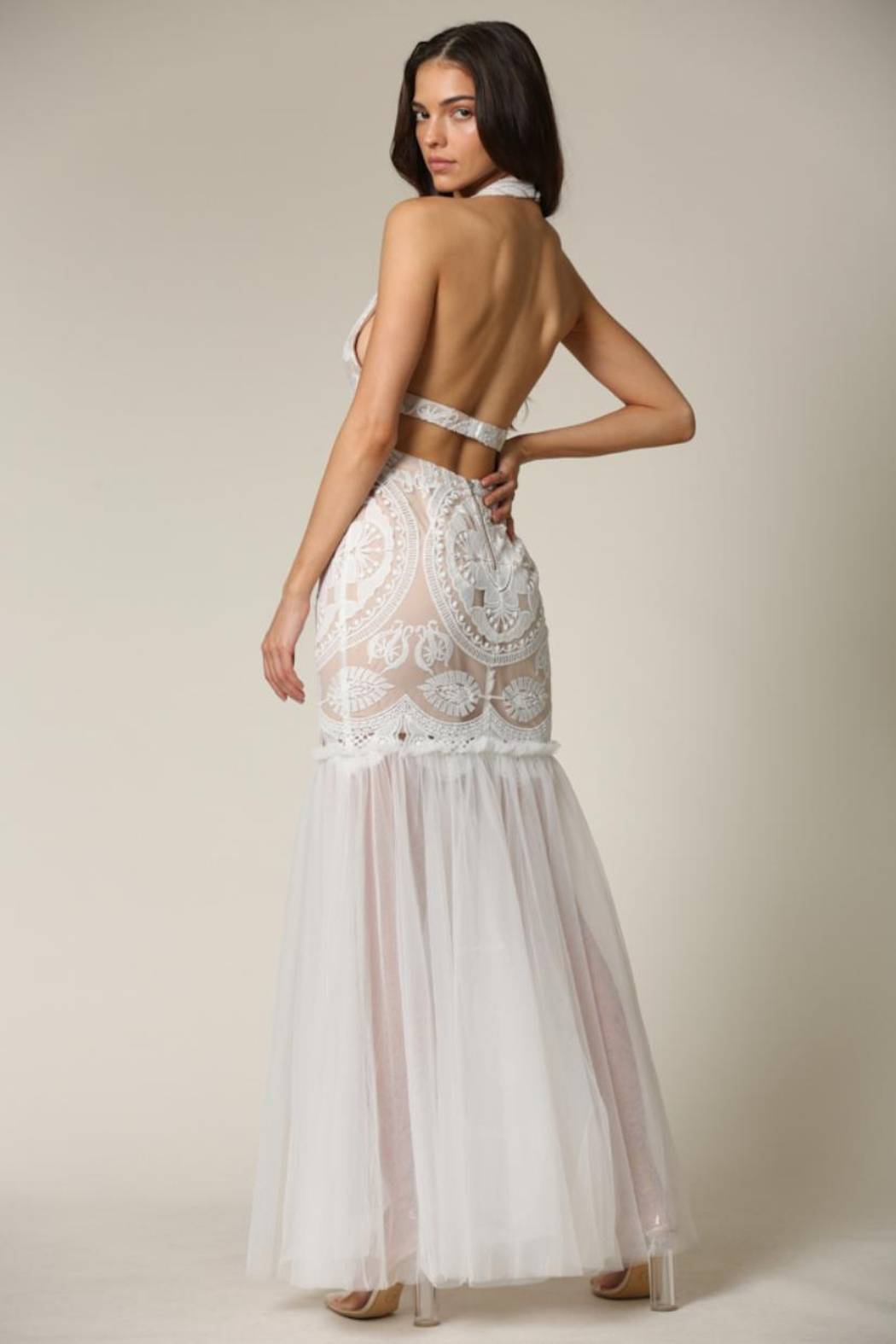 Blithe  Cut-Out Halter Maxi - Side Cropped Image