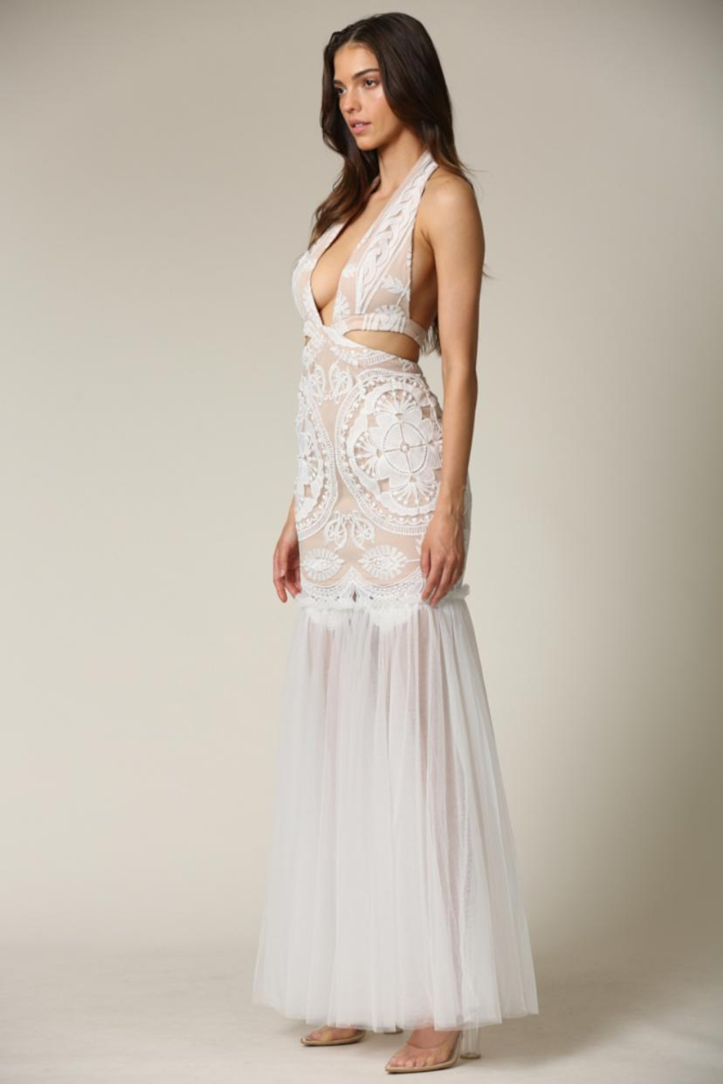 Blithe  Cut-Out Halter Maxi - Front Full Image