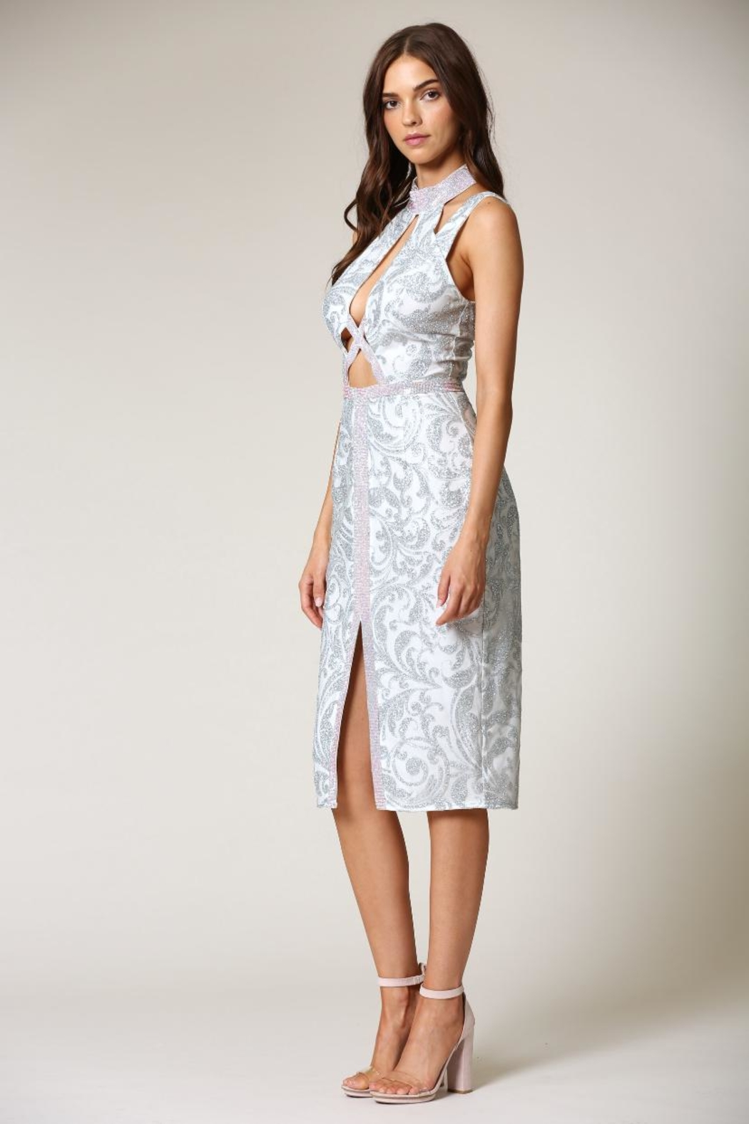 Blithe  Floral-Embroidered Midi Dress - Front Full Image