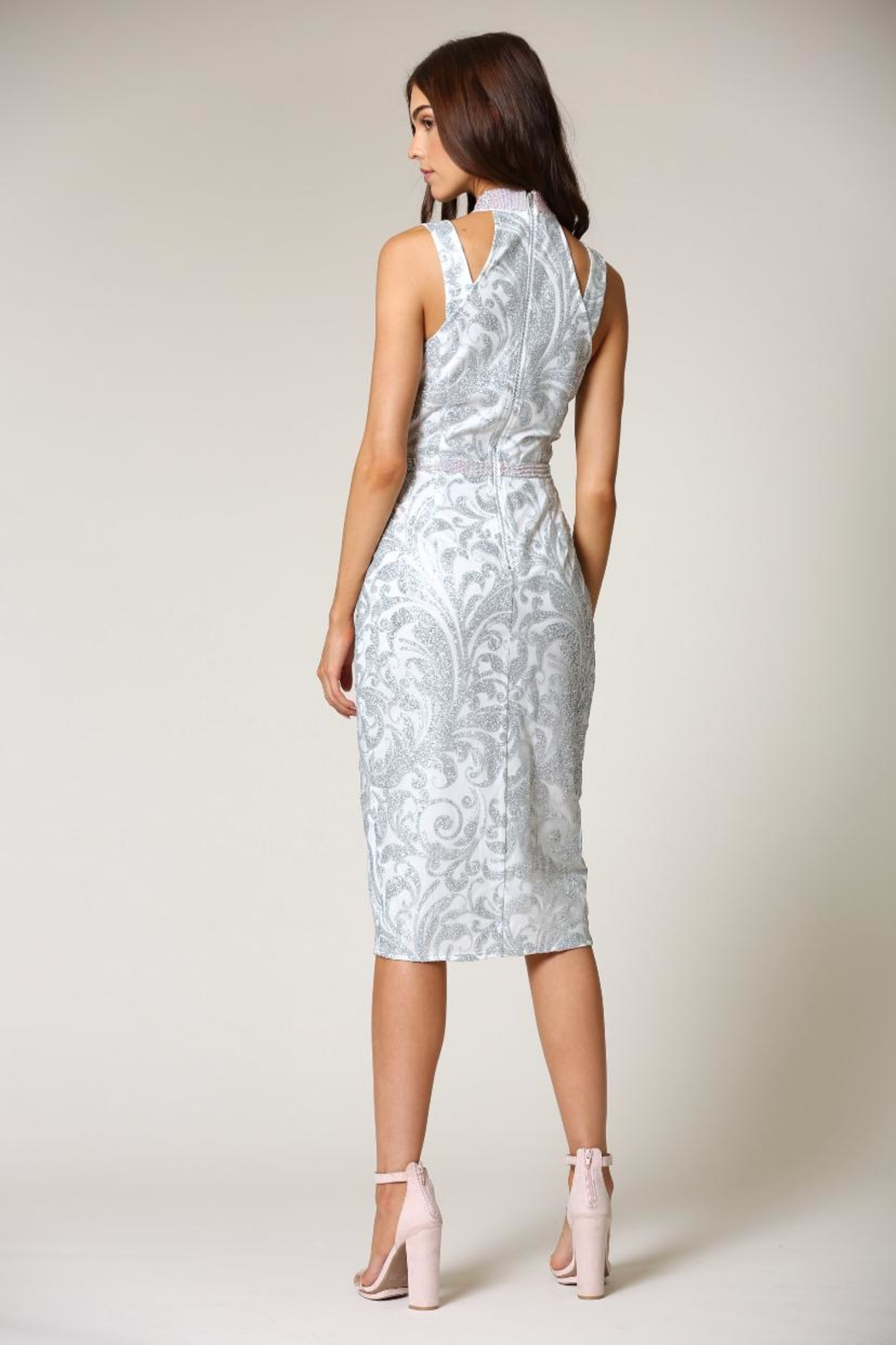 Blithe  Floral-Embroidered Midi Dress - Side Cropped Image