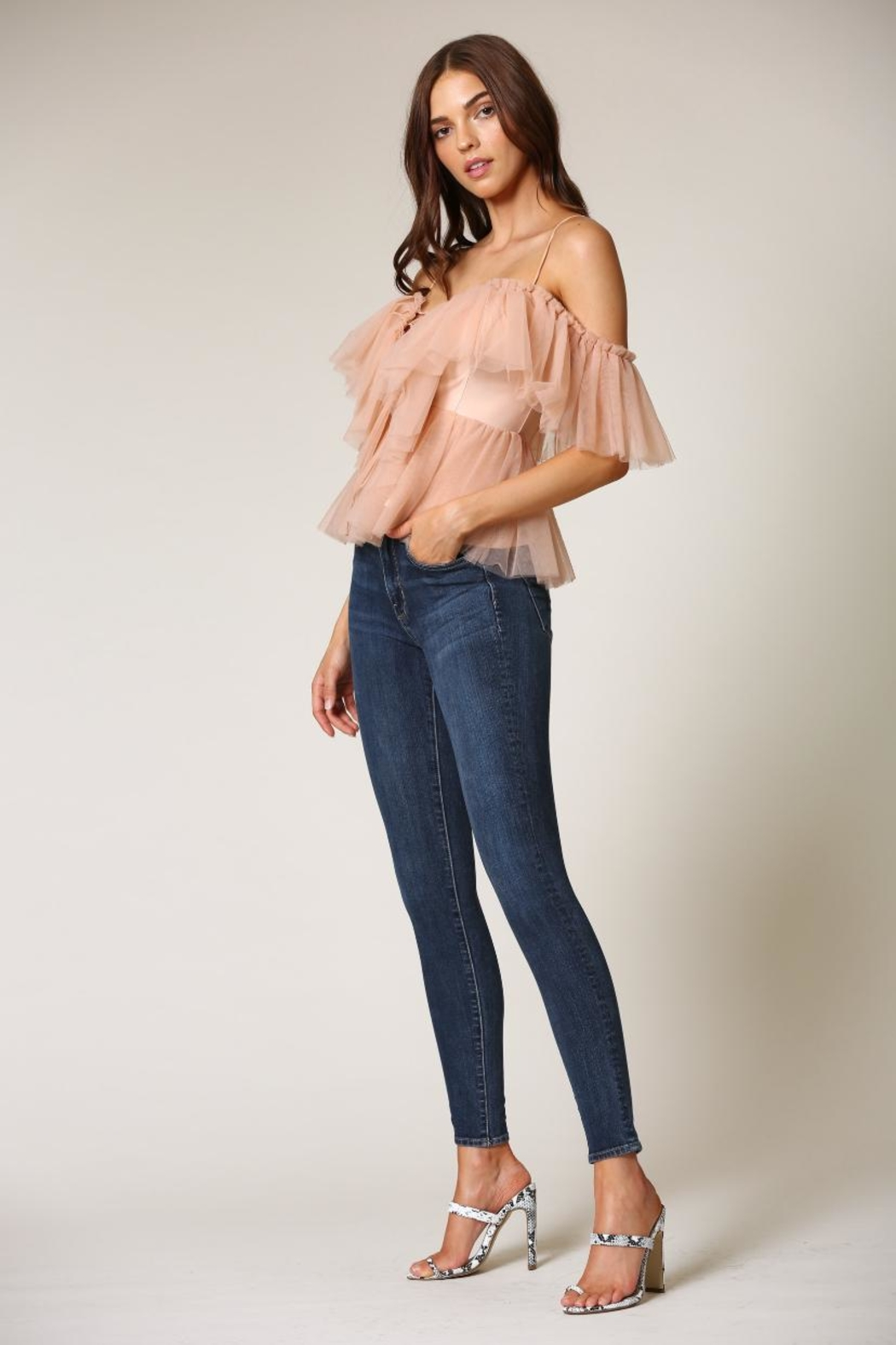 Blithe  Rose Cold-Shoulder Top - Front Full Image