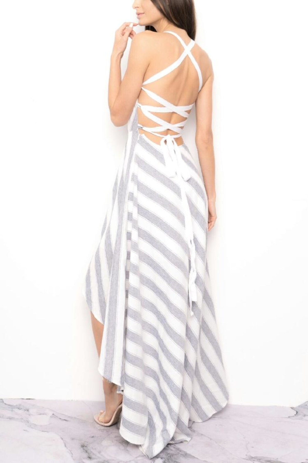 Blithe  Striped High-Low Dress - Front Full Image