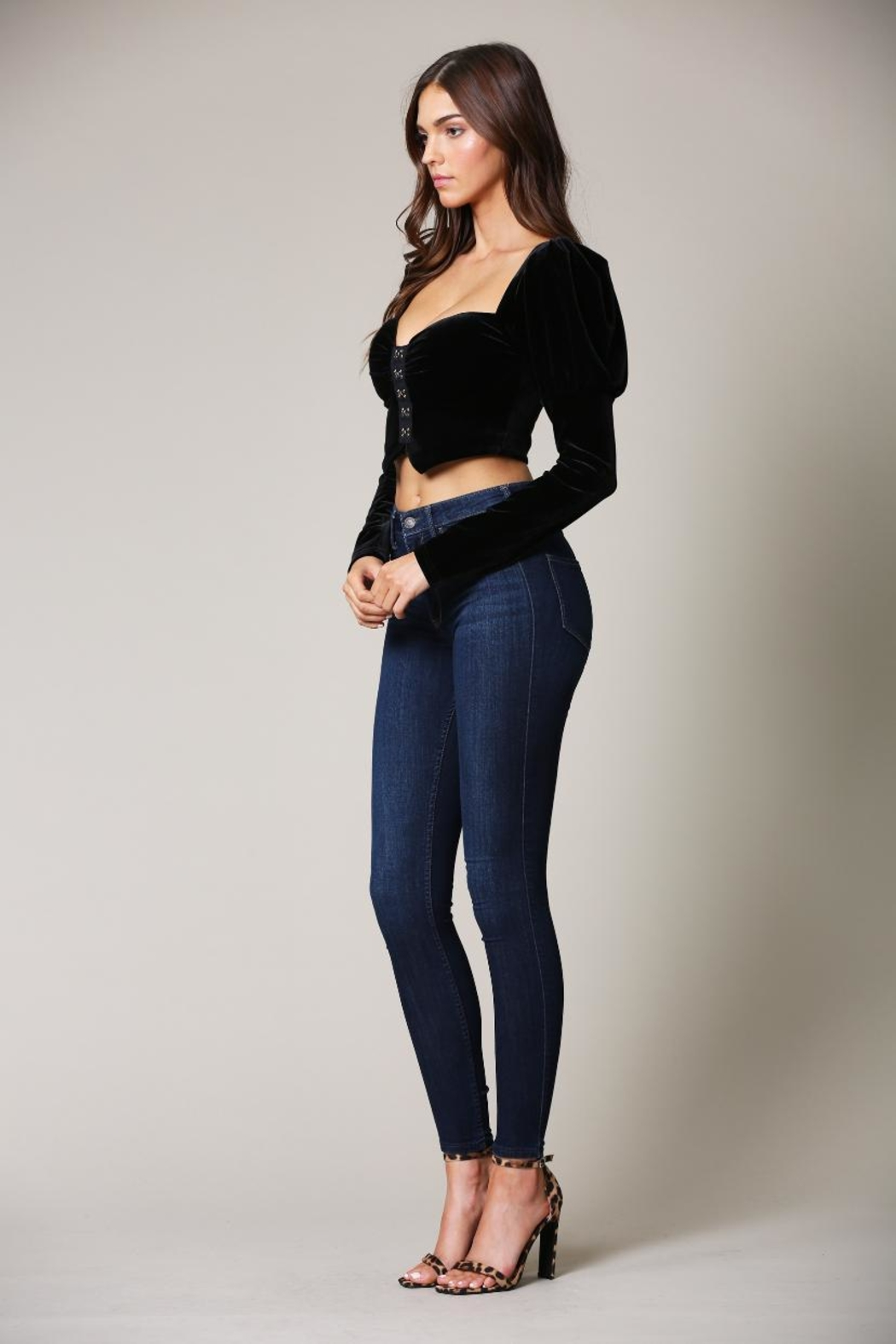 Blithe  Velvet Crop Top - Front Full Image