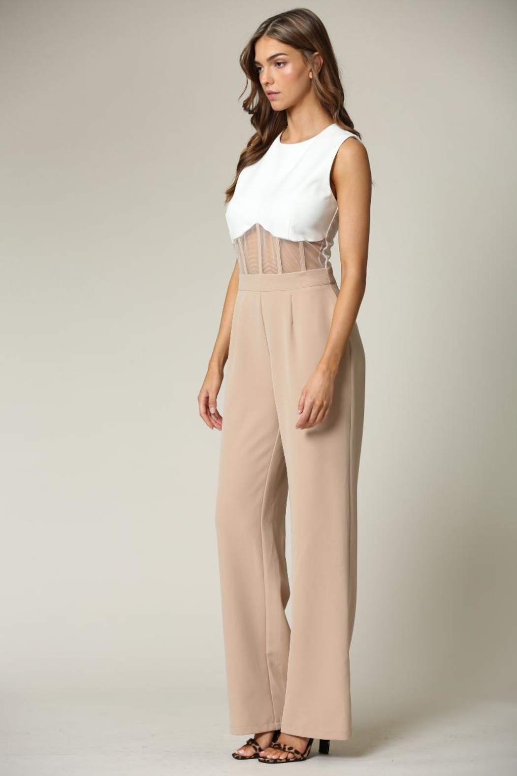 Blithe  White-Beige Jumpsuit - Front Full Image