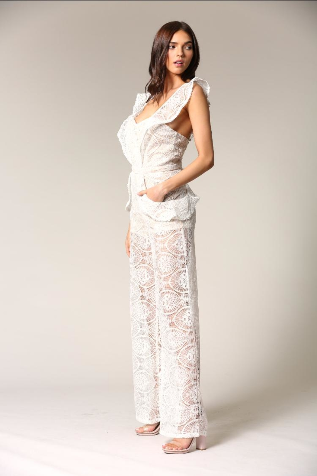 Blithe  White Lace Jumpsuit - Front Full Image
