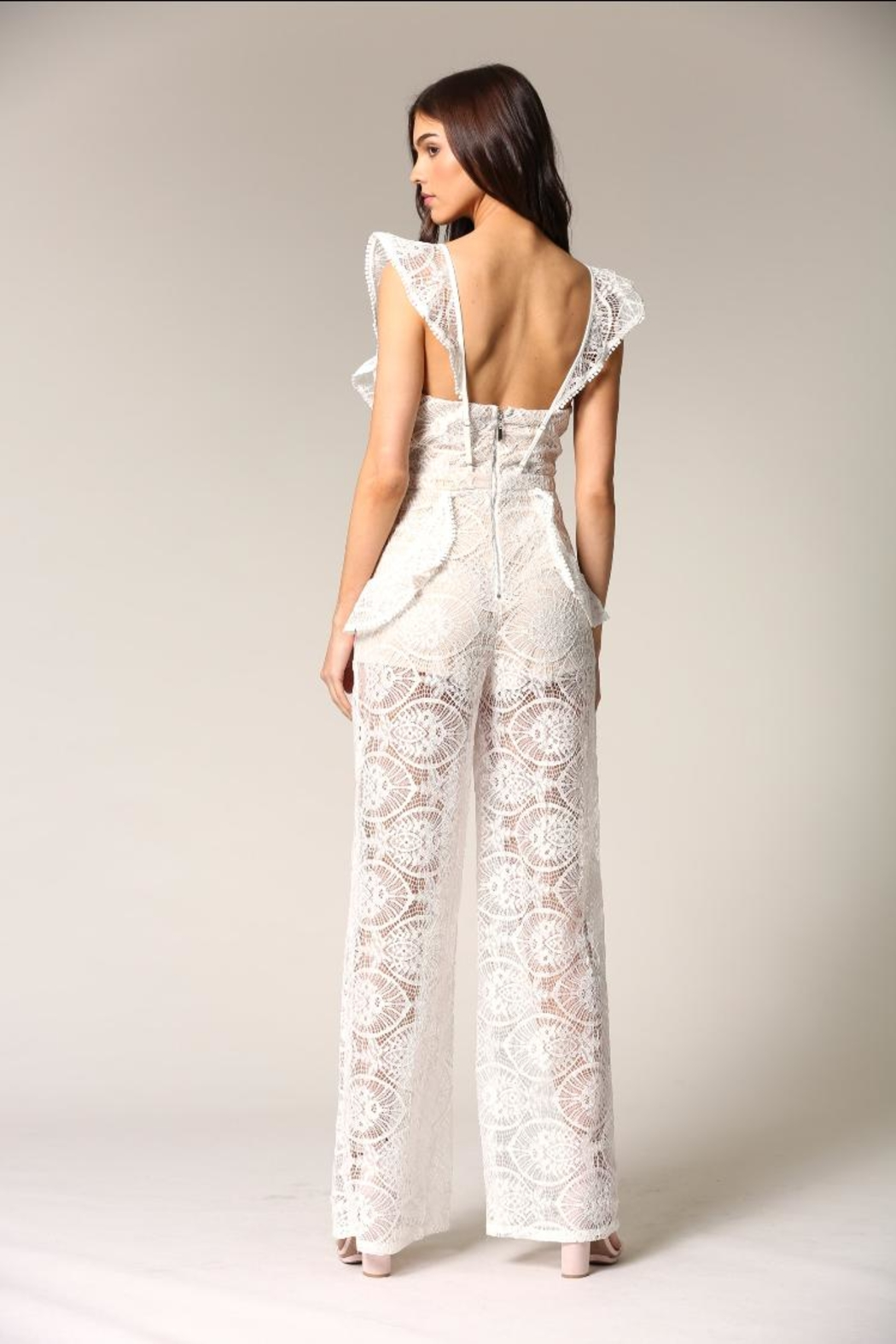 Blithe  White Lace Jumpsuit - Side Cropped Image