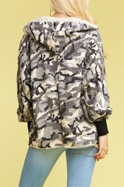 T-Party  Blk Camo Faux Fur Jacket - Front full body