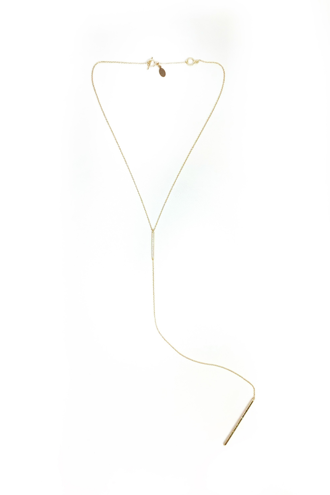 Jamie Nicole Jewelry Blk & CZ Double Bar Y Necklace - Front Full Image