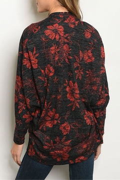 Available Blk/red Floral Cardigan - Alternate List Image