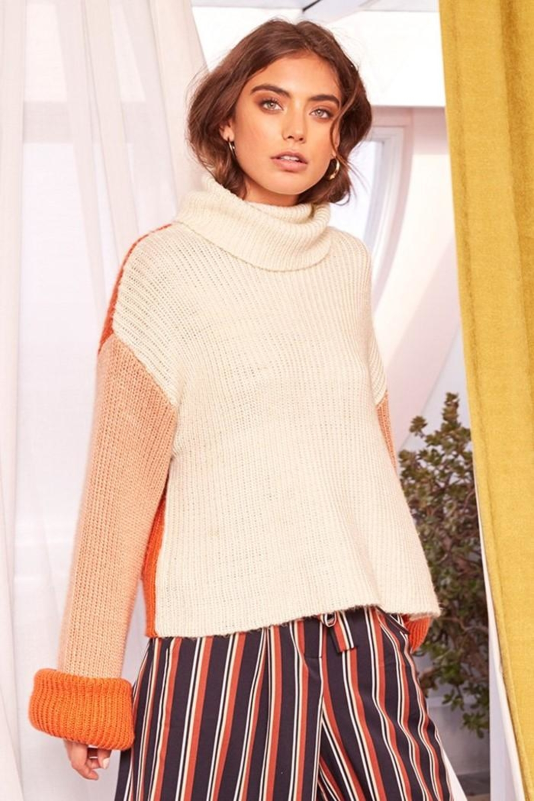 MinkPink Block Colour Sweater - Back Cropped Image