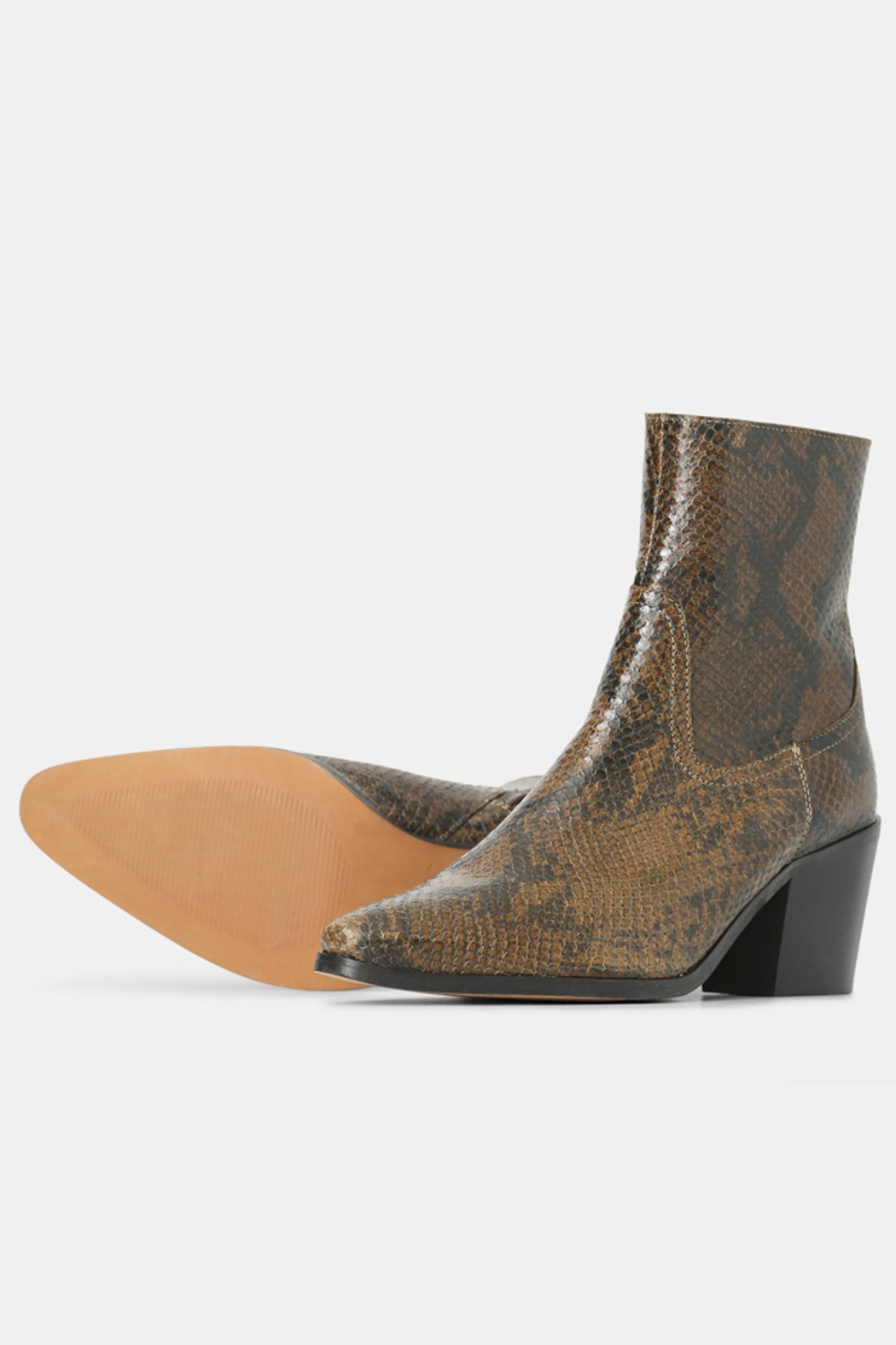 Shoe the Bear BLOCK HEEL SNAKE PRINT BOOT - Front Full Image