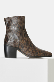 Shoe the Bear BLOCK HEEL SNAKE PRINT BOOT - Front cropped