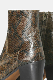 Shoe the Bear BLOCK HEEL SNAKE PRINT BOOT - Back cropped
