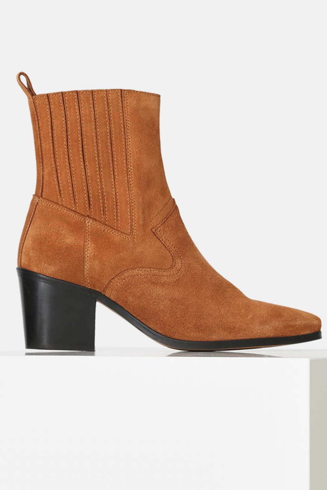 Shoe the Bear BLOCK HEEL SUEDE ANKLE BOOT - Front Cropped Image