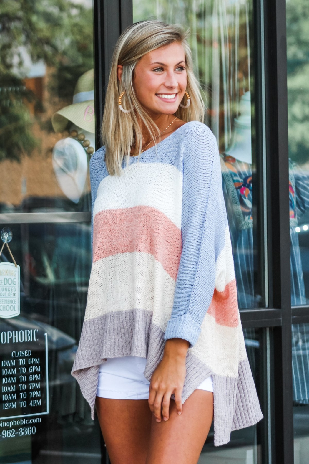 She + Sky Block Party Sweater - Back Cropped Image