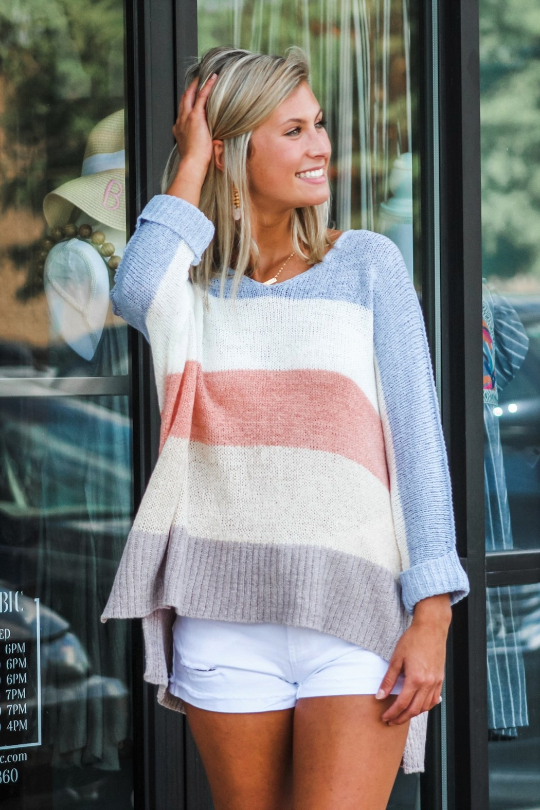 She + Sky Block Party Sweater - Side Cropped Image