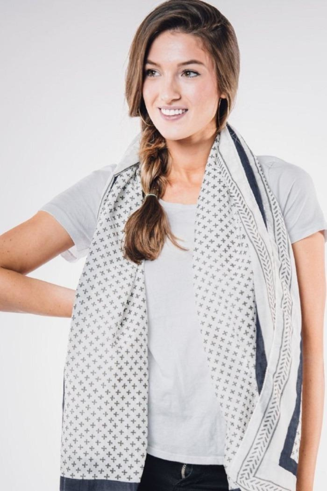 Bloom & Give Santorini Cotton Scarf - Side Cropped Image