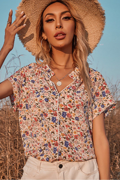 Esley Collection Bloomed Floral Print Short Sleeve Top - Product List Image