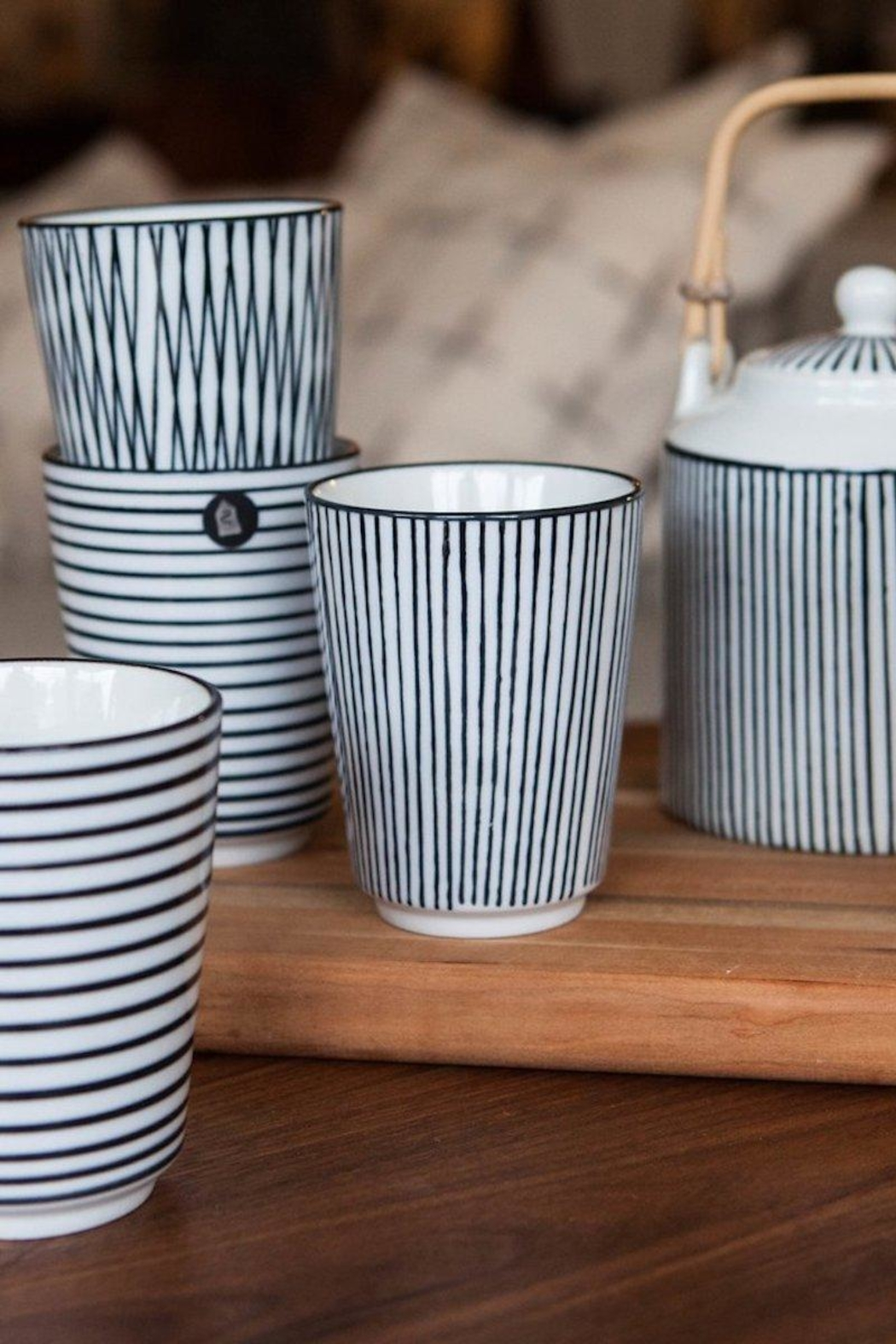 Bloomingville Cobalt Pinstripe Cups - Front Cropped Image