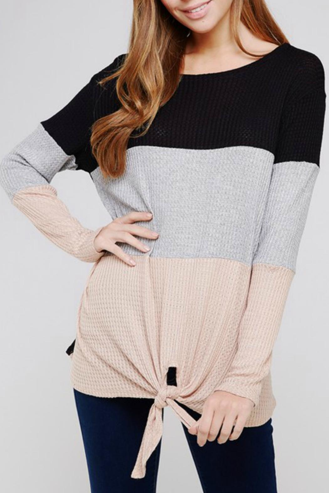 Blooms in The City Waffle-Knit Color-Block Top - Front Cropped Image