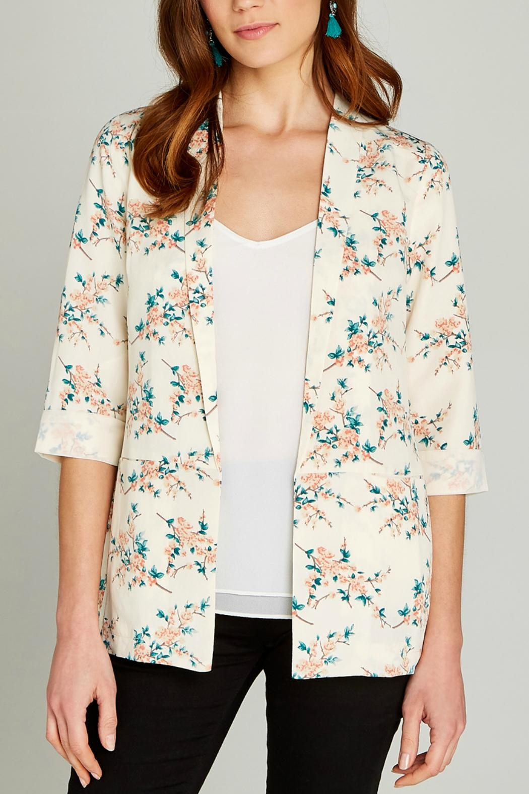 Apricot Blossom Oversized Blazer - Front Cropped Image