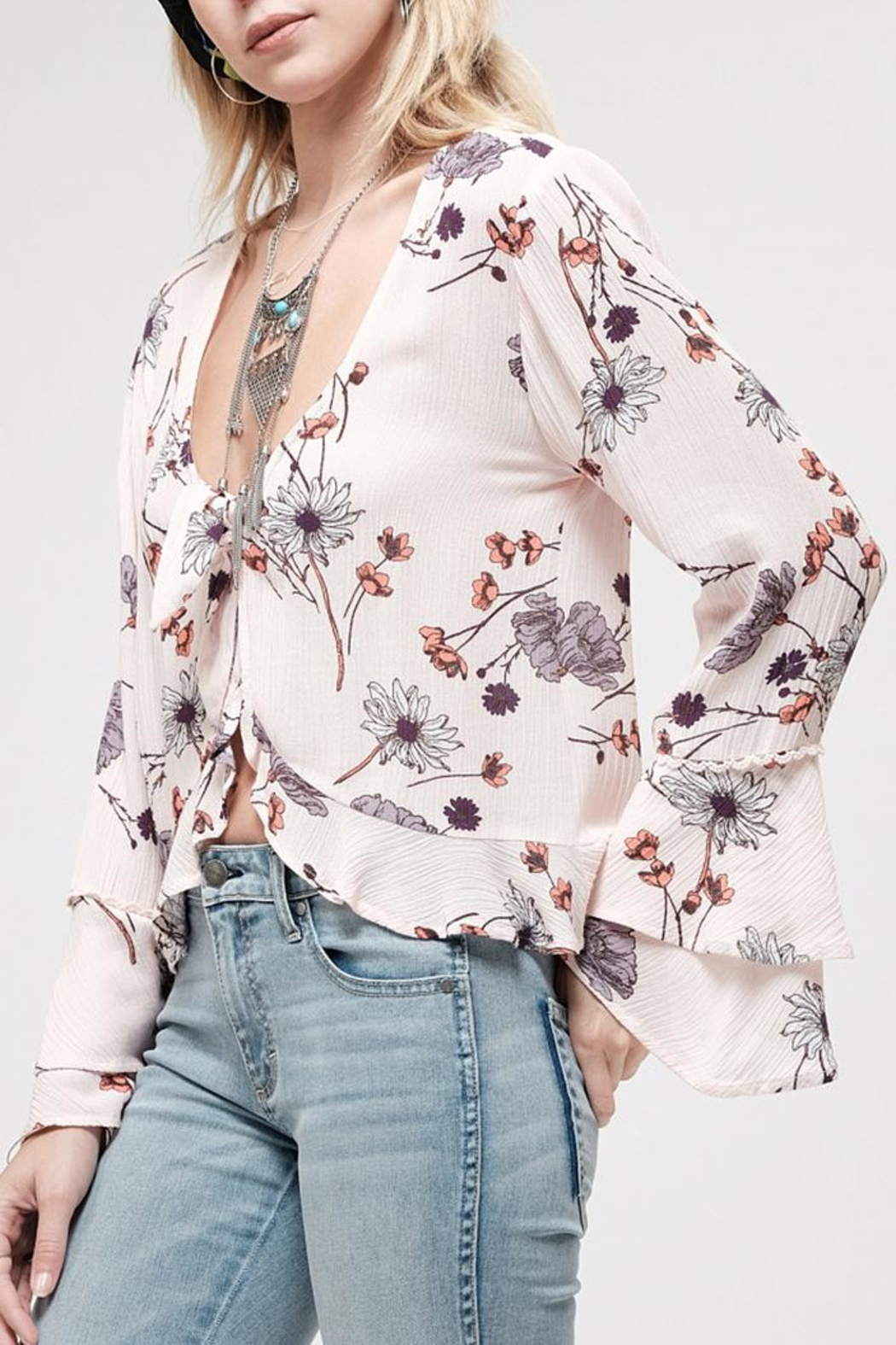 Blu Pepper Blossom Pink Top - Front Full Image