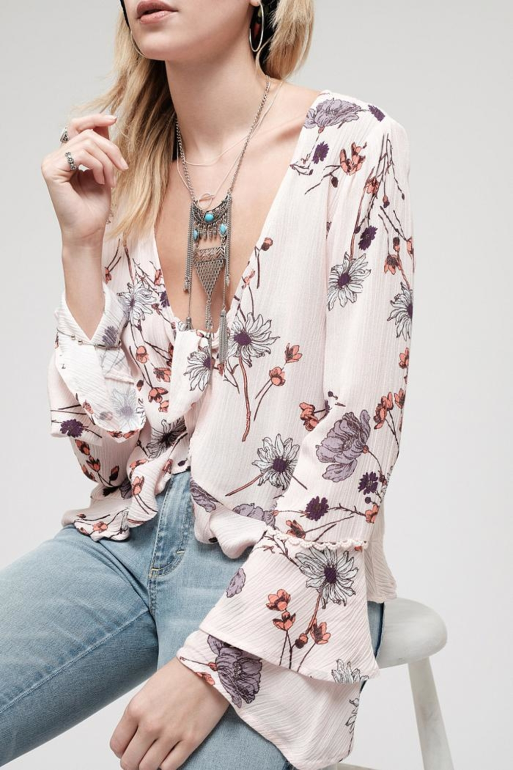 Blu Pepper Blossom Pink Top - Side Cropped Image
