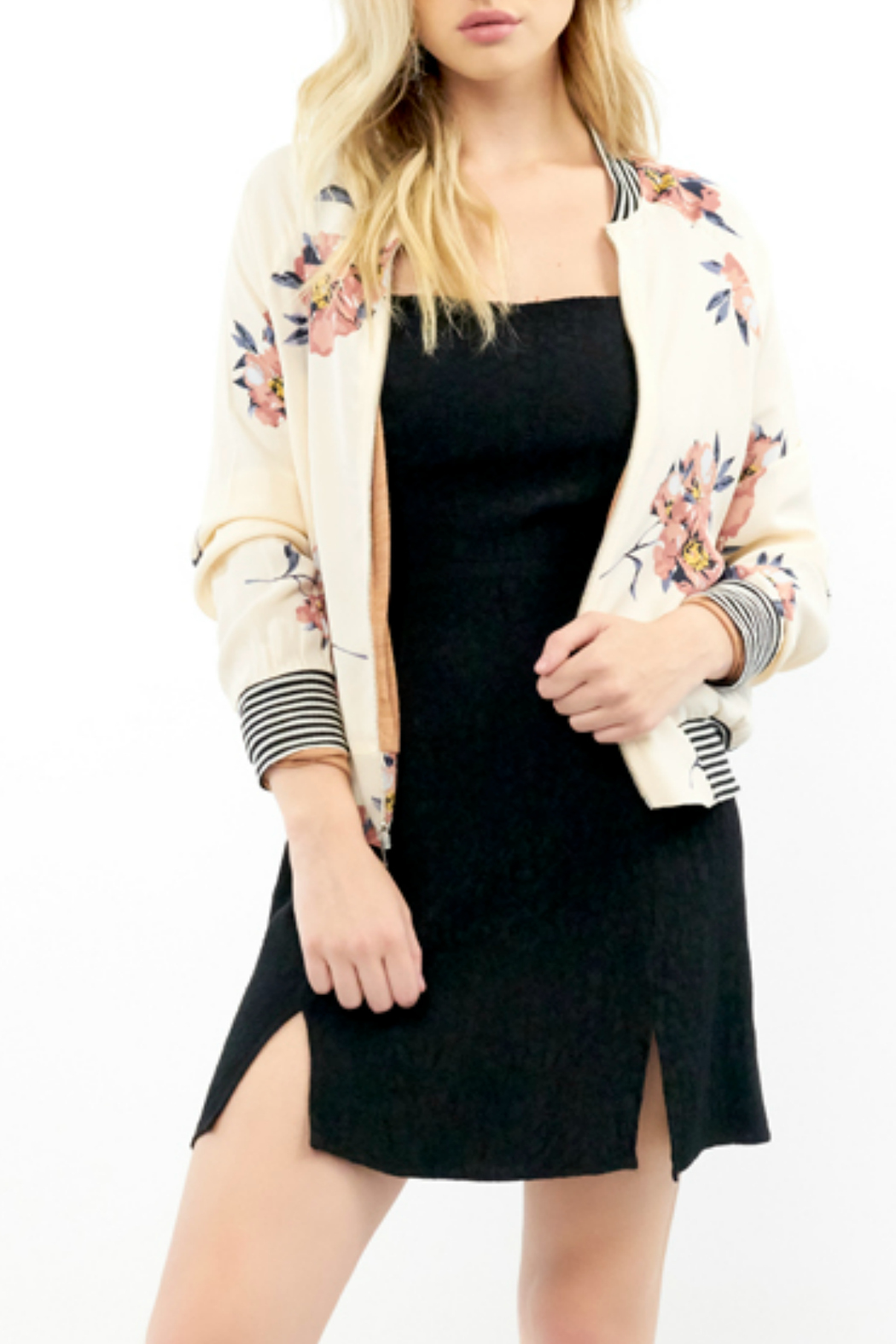 Saltwater Luxe Blossom Print Bomber Jacket - Main Image