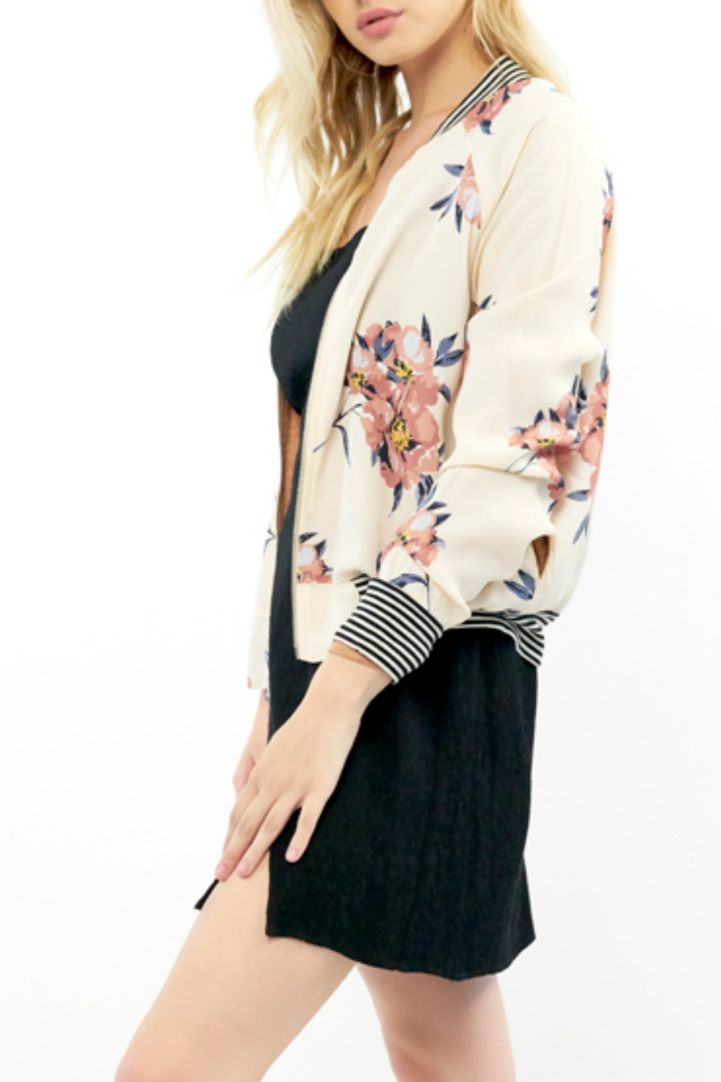Saltwater Luxe Blossom Print Bomber Jacket - Front Full Image