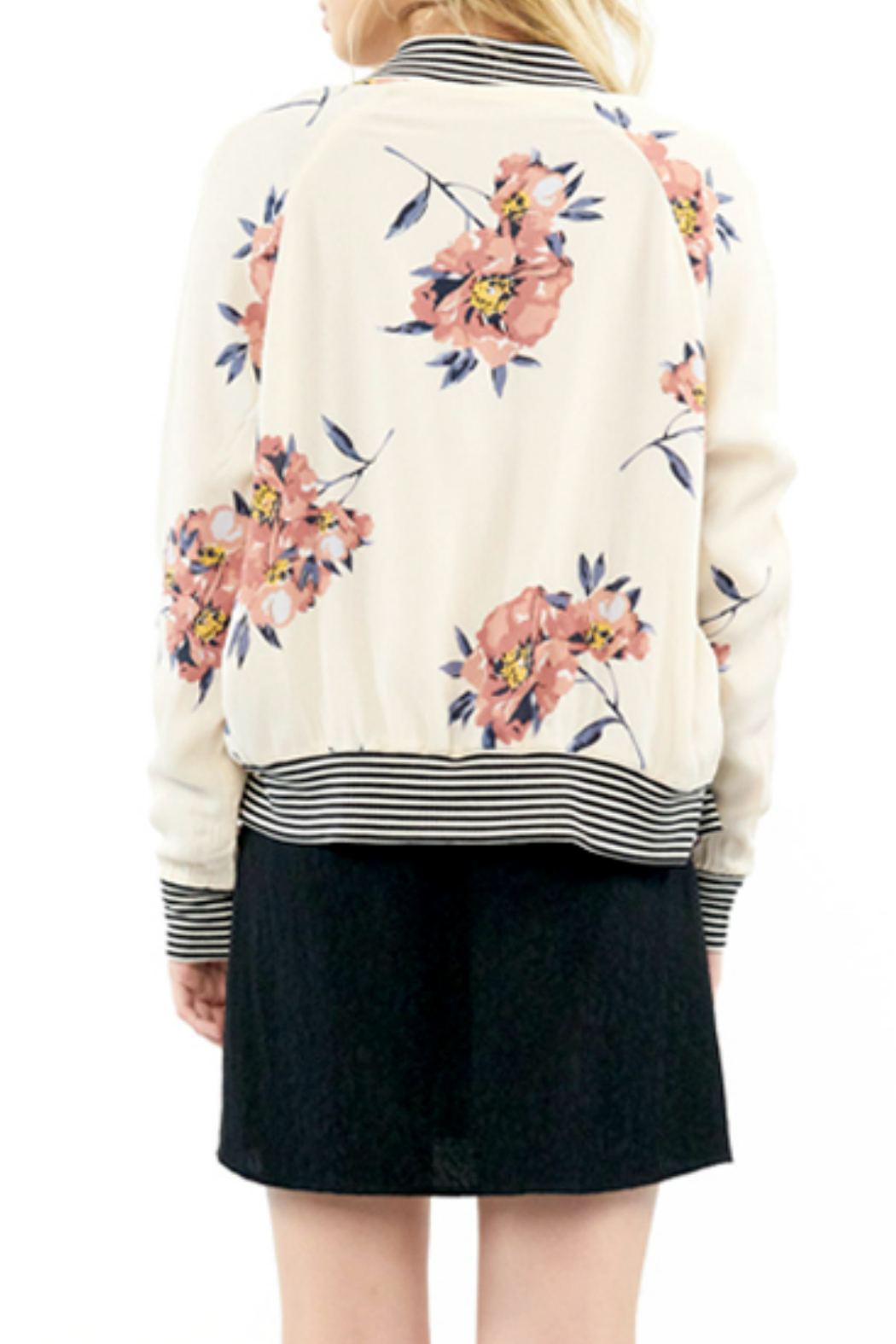 Saltwater Luxe Blossom Print Bomber Jacket - Side Cropped Image