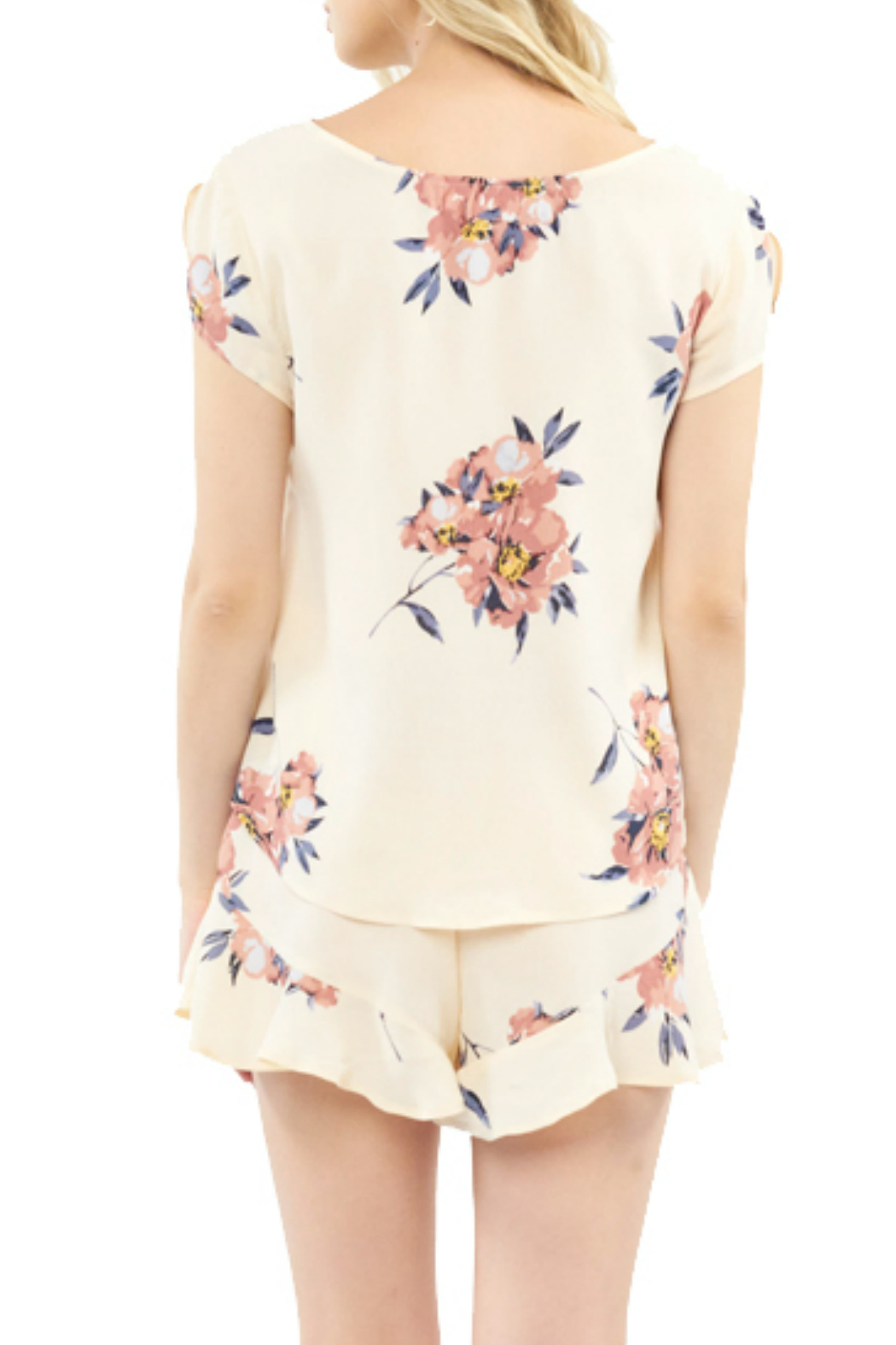 Saltwater Luxe Blossom Print S/S Button front Top - Front Full Image