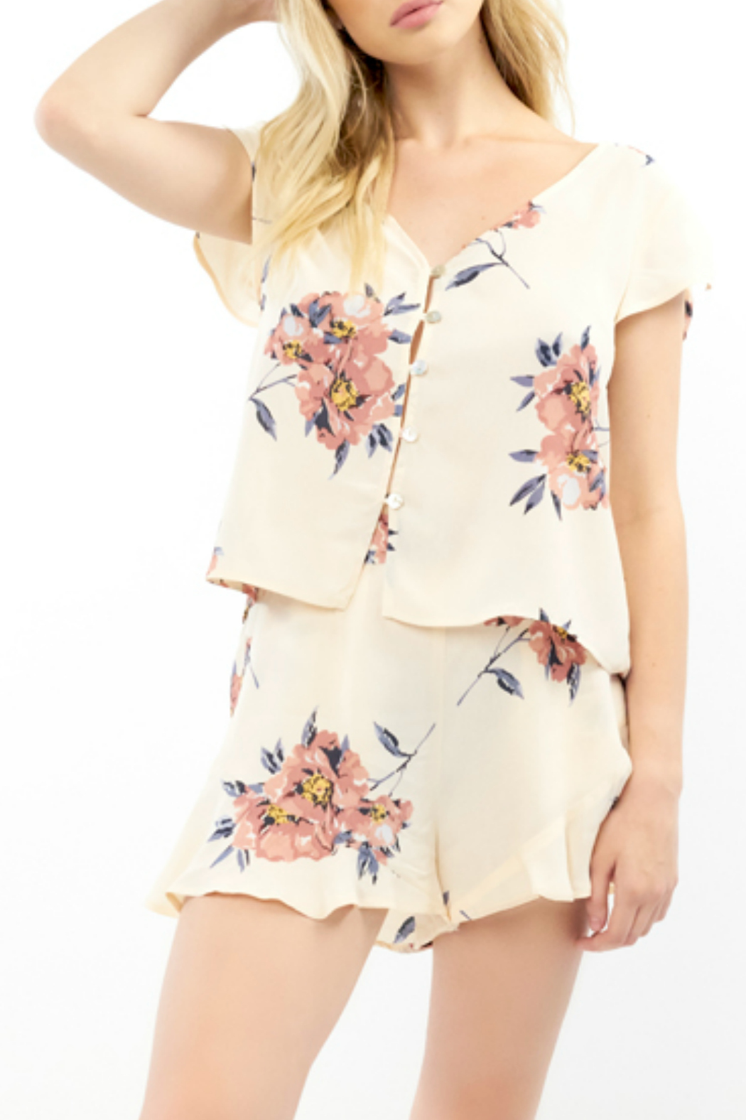 Saltwater Luxe Blossom Print S/S Button front Top - Main Image