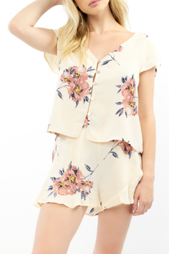 Shoptiques Product: Blossom Print S/S Button front Top
