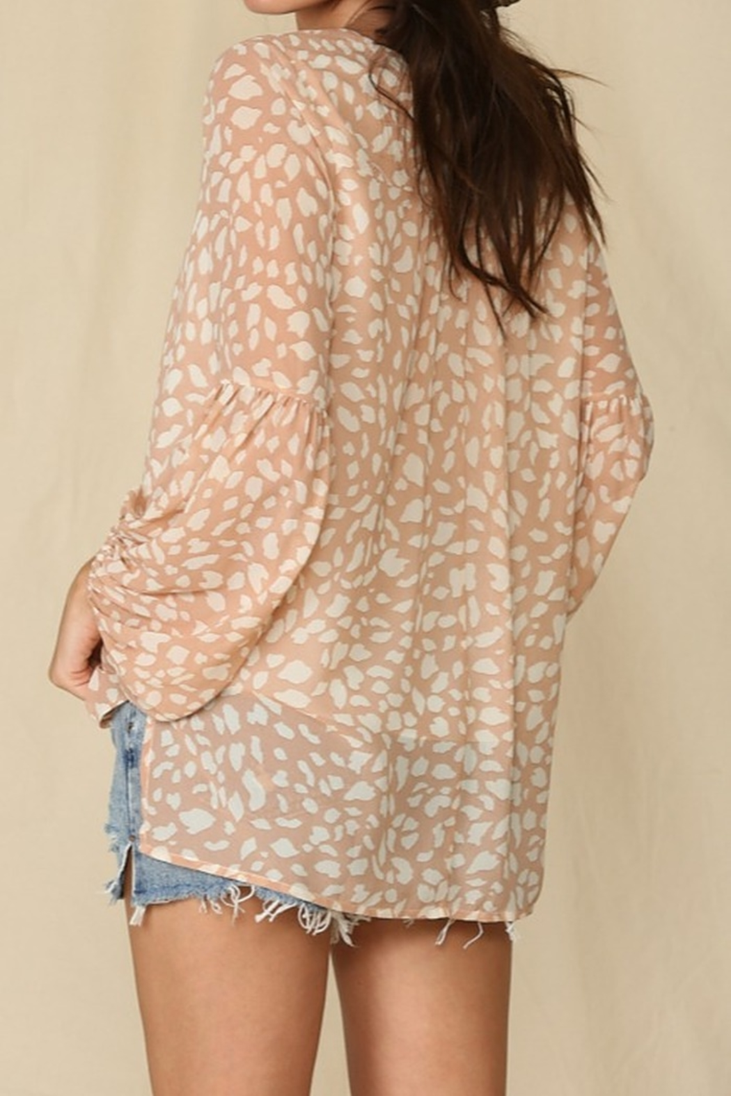By Together  Blouse with Leopard Print and Lace Up Front - Front Full Image