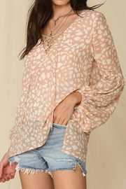 By Together  Blouse with Leopard Print and Lace Up Front - Side cropped