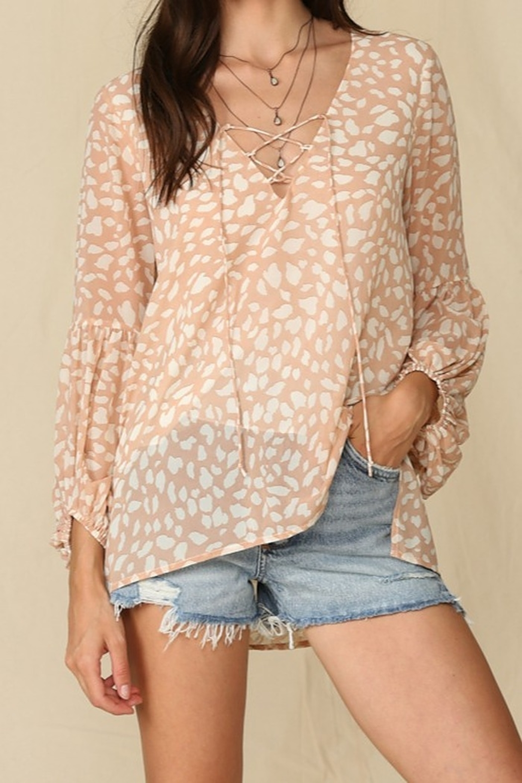 By Together  Blouse with Leopard Print and Lace Up Front - Main Image