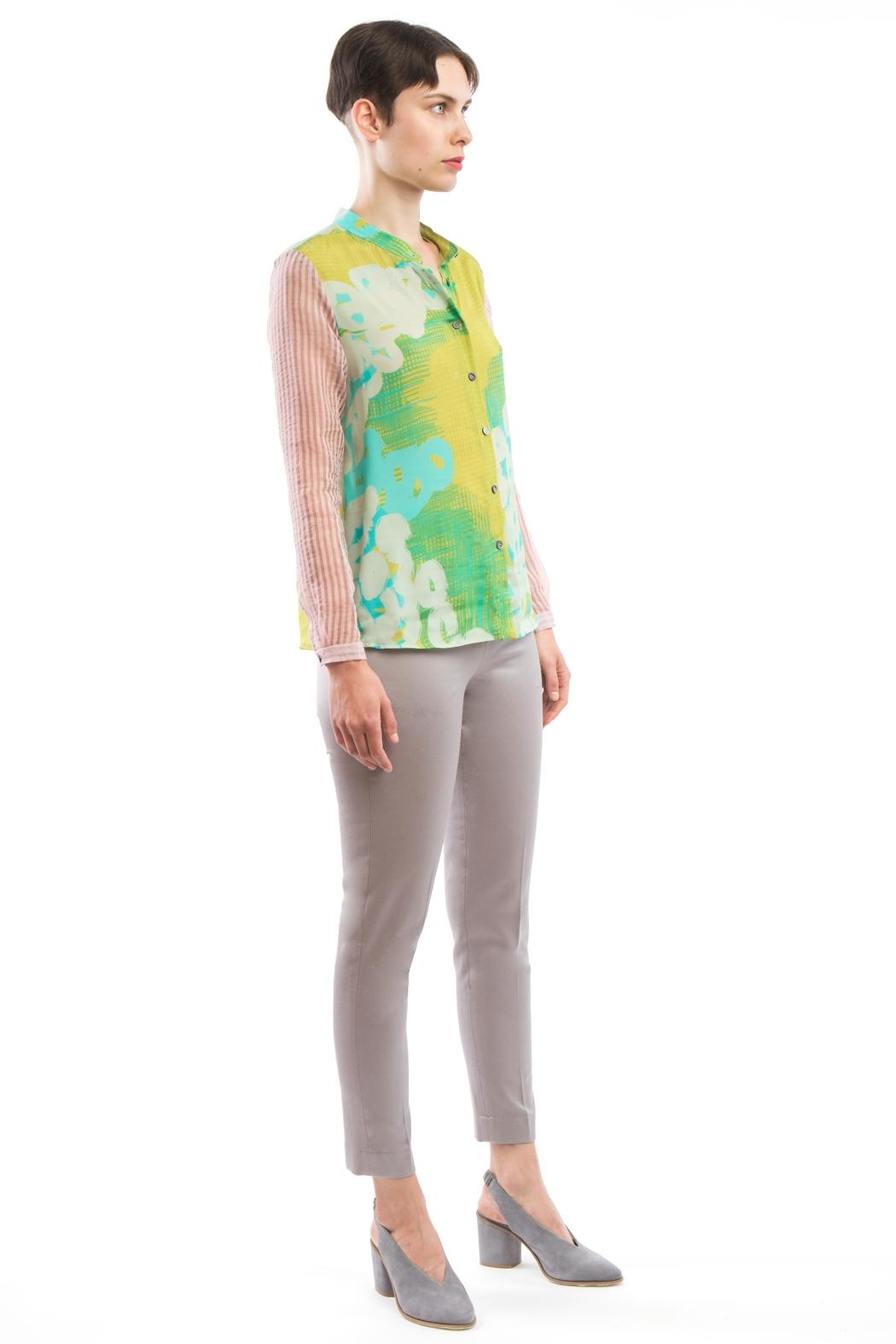 Clara Kaesdorf Blouse Yellow Pink - Back Cropped Image