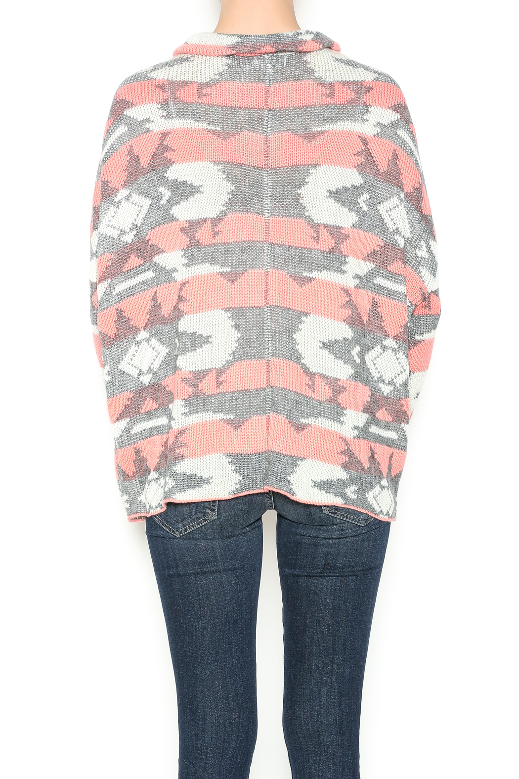 Blu Pepper Coral And Grey Sweater - Back Cropped Image
