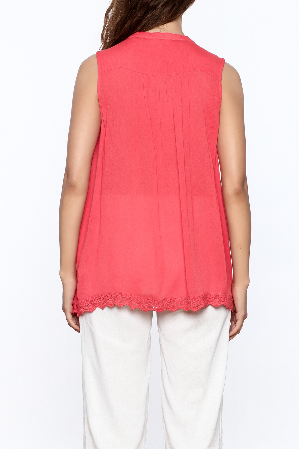 Blu Pepper Coral Sleeveless Top - Back Cropped Image