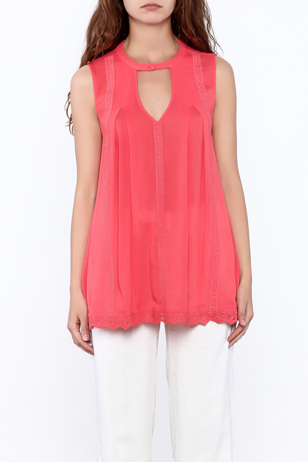 Blu Pepper Coral Sleeveless Top - Front Full Image