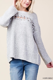Blu Heaven Lace Across Sweater - Front cropped