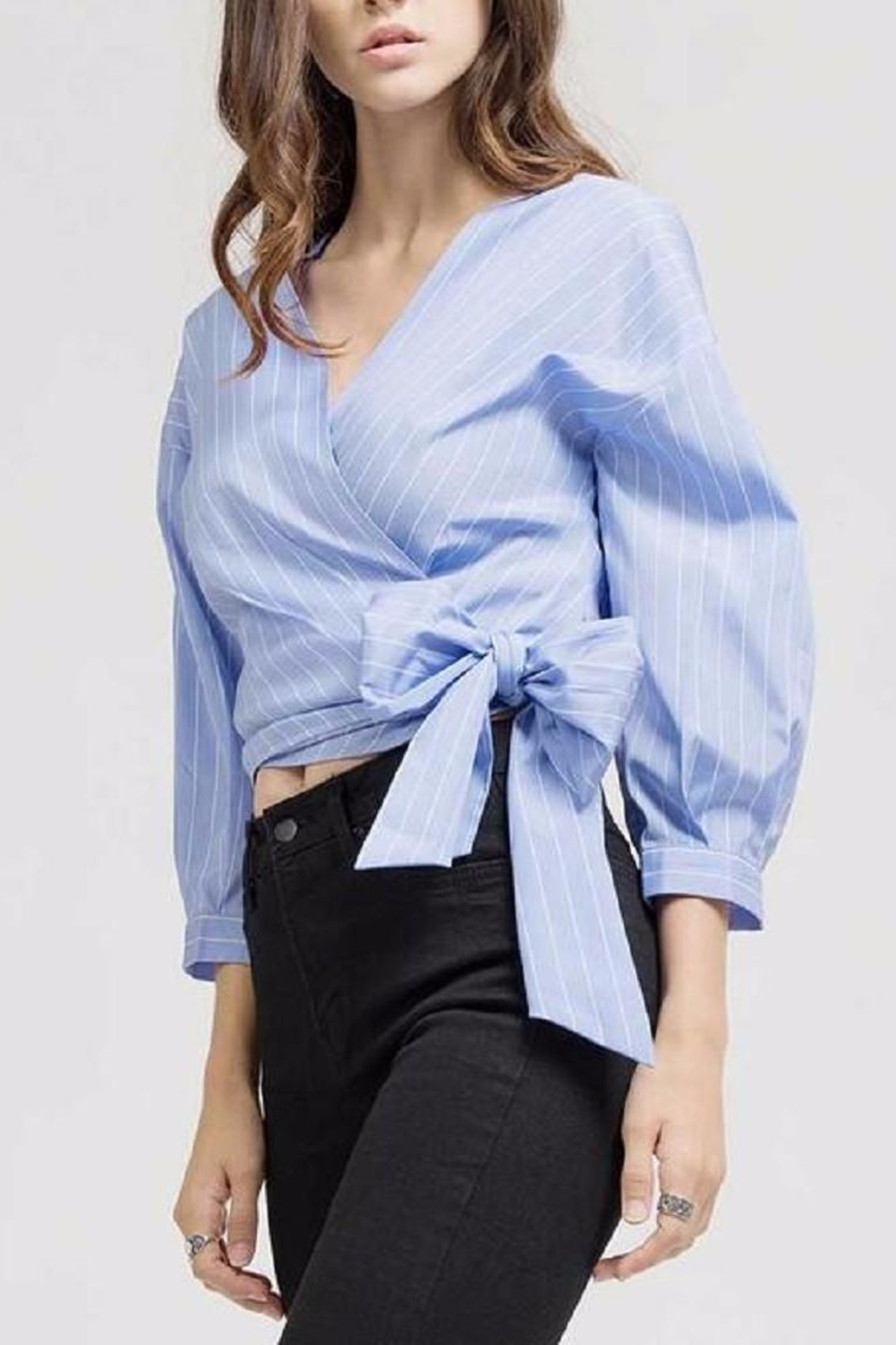 Blu Pepper Blue Wrap Top - Side Cropped Image