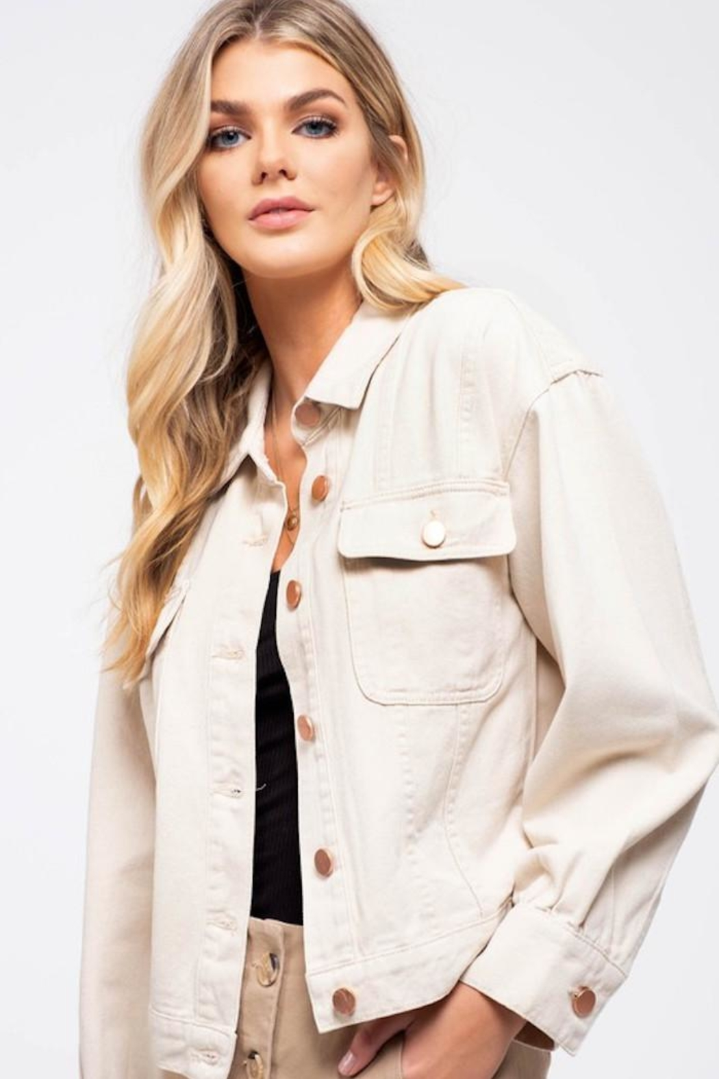 Blu Pepper Button Down Jacket - Front Full Image